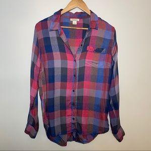 Lucky Brand Boyfriend Plaid Button Down Shirt!
